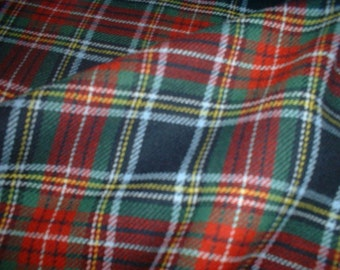 "Blue/Red/Green - Tartan Fabric - Brushed Cotton - Metre/Half - 59"" (150cm) wide"
