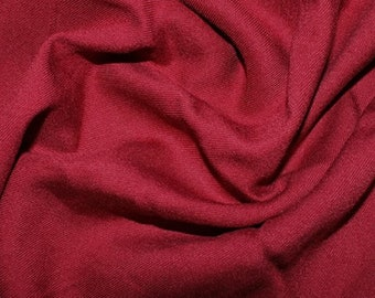 "Burgundy - Plain Viscose Twill Dress Fabric Material - per Metre/Half - 55"" (140cm) wide"