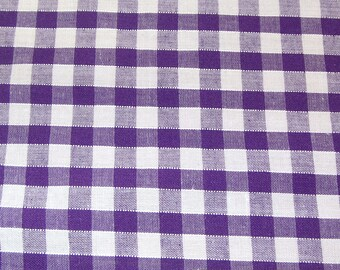 Purple - Corded Gingham - Quarter Inch Check - Dress Fabric Material - Metre/Half - 44 inches (112cm) wide
