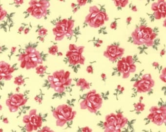 "Pink Flowers on Lemon Yellow - Floral 100% Cotton Poplin Dress Fabric - Material - Metre/Half - 44"" (112cm) wide"