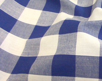 Royal Blue - Corded Gingham - 1 Inch Check - Dress Fabric Material - Metre/Half - 44 inches (112cm) wide