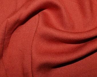"Rust Red - Plain Viscose Twill Dress Fabric Material - per Metre/Half - 55"" (140cm) wide"