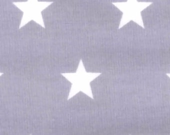 "White Stars on Silver - 100% Cotton Poplin Dress Fabric Material - 20mm Stars - Metre/Half - 44"" (112cm) wide"