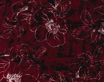 """Maroon / White - Floral Printed Velvet - Rayon/Polyester Fabric Material - 140cm (55"""") wide"""