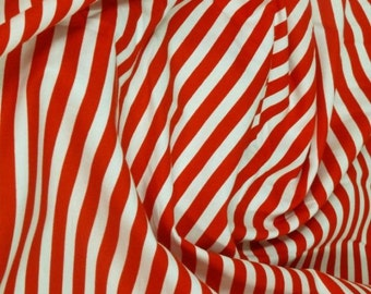 "Red / White - 100% Cotton Poplin Dress Fabric Material - 8mm Stripe - Metre/Half - 44"" (112cm) wide"