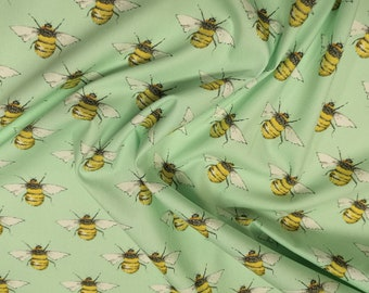 "Honey Bees on Meadow Green - 100% Cotton Poplin Dress Fabric - Material - Metre/Half - 44"" (112cm) wide"