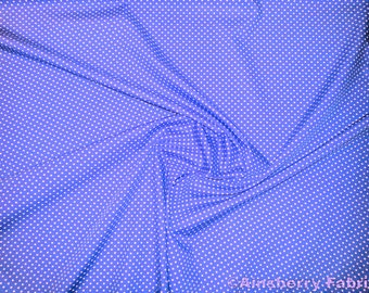 "Copen Blue - 100% Cotton Poplin Dress Fabric Material - 3mm Polka Dot / Spot - Metre/Half - 44"" (112cm) wide"