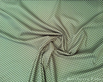 "Old Green - 100% Cotton Poplin Dress Fabric Material - 3mm Polka Dot / Spot - Metre/Half - 44"" (112cm) wide"