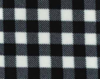 "White/Black Check - Polar Fleece Fabric - Metre/Half - Anti Pil - 150cm (59"") wide"