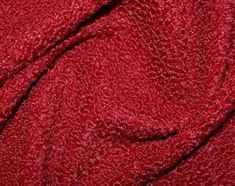 "Wine Red - Curly Knit Boucle Type Stretch Fabric - Polyester Material - 150cm (59"") wide"
