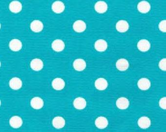 "White on Turquoise - 100% Cotton Poplin Dress Fabric Material - 7mm Polka Dot / Spot - Metre/Half - 44"" (112cm) wide"