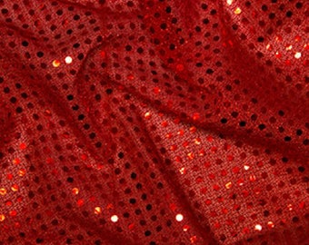 "Red - 3mm Sequin Fabric - Shiny Sparkly Material - 44"" (112cm) wide Knitted Backing"