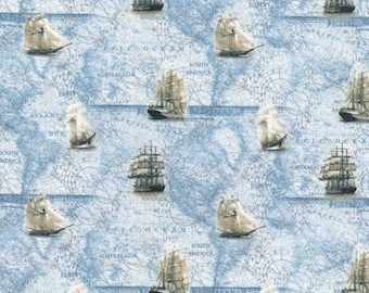 "Tall Ships Nautical - 100% Cotton Poplin Dress Fabric - Metre/Half - 60"" (150cm) wide"