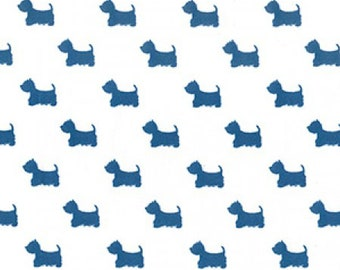 "Terrier Dog - Teal Blue on Cream - 100% Cotton Poplin Dress Fabric - Material - Metre/Half - 44"" (112cm) wide"