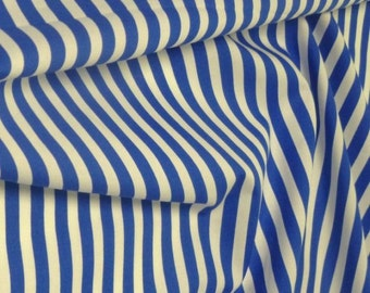 "Royal Blue / White - 100% Cotton Poplin Dress Fabric Material - 8mm Stripe - Metre/Half - 44"" (112cm) wide"