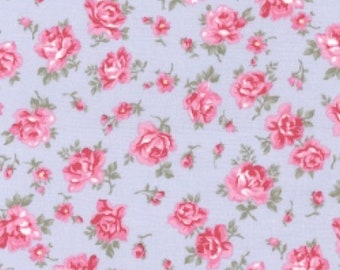 "Pink Flowers on Sky Blue - Floral 100% Cotton Poplin Dress Fabric - Material - Metre/Half - 44"" (112cm) wide"