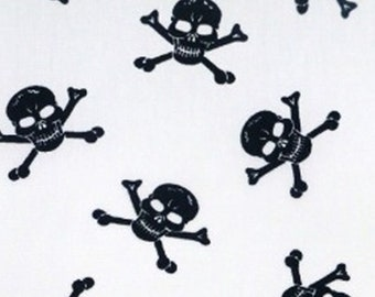 "Black Skulls on White - 100% Cotton Poplin Dress Fabric Material - Metre/Half - 44"" (112cm) wide"