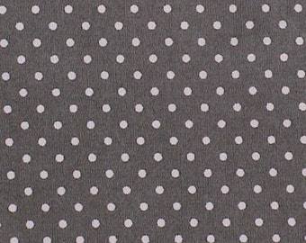 "Slate - 100% Cotton Poplin Dress Fabric Material - 3mm Polka Dot / Spot - Metre/Half - 44"" (112cm) wide"