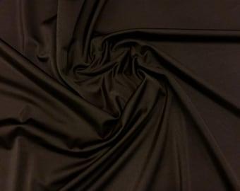 "Brown - Plain Nylon/Spandex All-Way Stretch Fabric Material - 150cm (59"") wide per metre / half"
