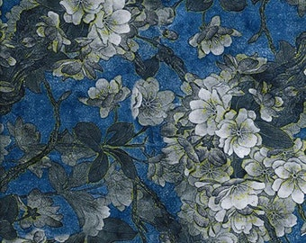 """Navy Blue - Floral Printed Velvet - Rayon/Polyester Fabric Material - 140cm (55"""") wide"""