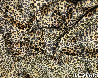 "Leopard - Animal Print Polyester Velboa Fabric - Metre/Half - Faux Fur Pony Skin 58"" (145cm) wide Velour"