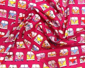 "Cerise Pink - VW Camper Van in Lines - 100% Cotton Poplin Dress Fabric Material - Metre/Half - 44"" (112cm) wide"
