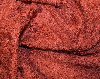 """Terracotta Bamboo Terry Towelling Fabric - Plain Solid Colours - Towel Material - 150cm (59"""") wide"""