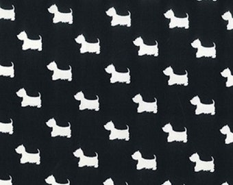 "Terrier Dog - Cream on Black - 100% Cotton Poplin Dress Fabric - Material - Metre/Half - 44"" (112cm) wide"