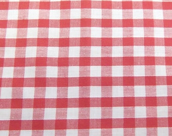 Red - Corded Gingham - Quarter Inch Check - Dress Fabric Material - Metre/Half - 44 inches (112cm) wide