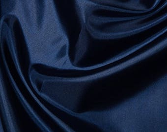 "Navy Blue Habotai 'Silk' Lining Fabric Polyester Material 145cm (57"") Wide"