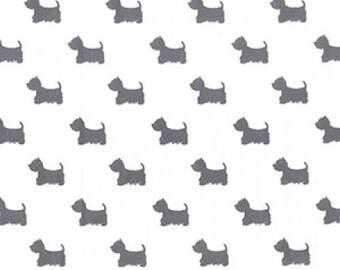 "Terrier Dog - Grey on Cream - 100% Cotton Poplin Dress Fabric - Material - Metre/Half - 44"" (112cm) wide"