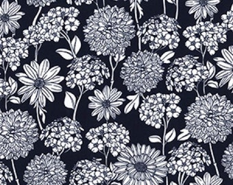 "White on Navy Blue Floral Flowers - 100% Cotton Poplin Dress Fabric - Material - Metre/Half - 44"" (112cm) wide"