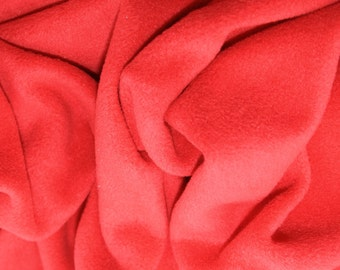 "Red - Polar Fleece Fabric - Metre/Half - Anti Pil - 59"" (150cm) wide"