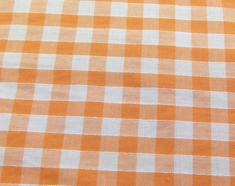 Orange - Corded Gingham - Quarter Inch Check - Dress Fabric Material - Metre/Half - 44 inches (112cm) wide
