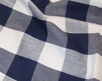 Navy Blue - Corded Gingham - 1 Inch Check - Dress Fabric Material - Metre/Half - 44 inches (112cm) wide