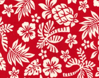 "White on Red Floral Tropical - 100% Cotton Poplin Dress Fabric - Material - Metre/Half - 44"" (112cm) wide"