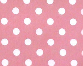 "White on Pink - 100% Cotton Poplin Dress Fabric Material - 7mm Polka Dot / Spot - Metre/Half - 44"" (112cm) wide"