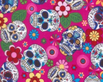 "Floral Flowers & Skulls on Cerise - 100% Cotton Poplin Dress Fabric Material - Metre/Half - 44"" (112cm) wide"