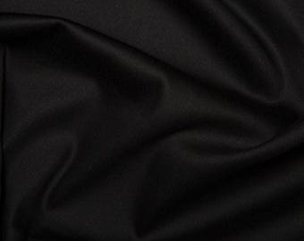 "Black - Plain Cotton Stretch Sateen Fabric Dress Material - 146cm (57"") wide"