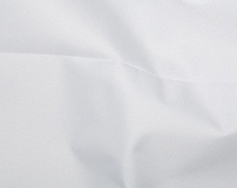 """White - Soft Water Repellent Polyester PU Coated Fabric - Plain Solid Colours - 57"""" (145cm) wide"""