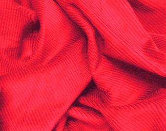 "Red - Cotton Corduroy 8 Wale Fabric Material - 144cm (56"") wide"