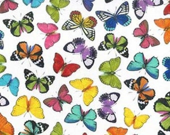 "Butterflies on White - Butterfly 100% Cotton Poplin Dress Fabric - Metre/Half - 60"" (150cm) wide"