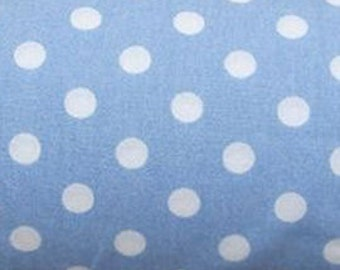 "White on Pale Blue - 100% Cotton Poplin Dress Fabric Material - 7mm Polka Dot / Spot - Metre/Half - 44"" (112cm) wide"