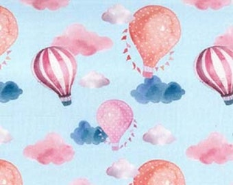 "Hot Air Balloons & Clouds - 100% Cotton Poplin Dress Fabric - Metre/Half - 60"" (150cm) wide"