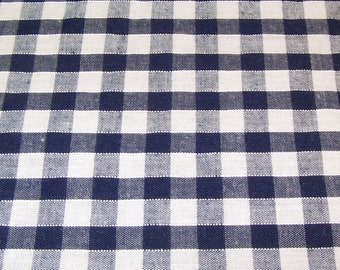 Navy Blue - Corded Gingham - Quarter Inch Check - Dress Fabric Material - Metre/Half - 44 inches (112cm) wide