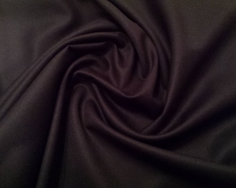 "Black - Plain 100% Cotton Drill Fabric - Medium Weight - 150cm (59"") Wide Dress Fabric"