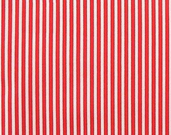 "Red / White - 100% Cotton Poplin Dress Fabric Material - 3mm Stripe - Metre/Half - 44"" (112cm) wide"