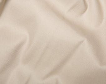 "Beige - Plain Cotton Stretch Sateen Fabric Dress Material - 146cm (57"") wide"