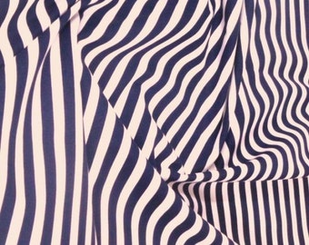 "Navy Blue / White - 100% Cotton Poplin Dress Fabric Material - 8mm Stripe - Metre/Half - 44"" (112cm) wide"