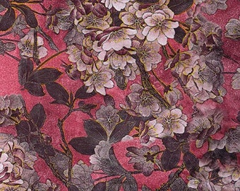 "Rose Pink - Floral Printed Velvet - Rayon/Polyester Fabric Material - 140cm (55"") wide"